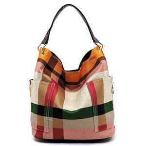2-n-1 Plaid Bucket Shoulder Bag